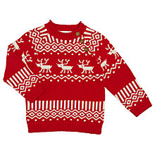 Buy John Lewis Baby Reindeer Fairisle Christmas Jumper, Red Online at johnlewis.com