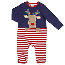 Buy John Lewis Baby's Reindeer and Stripe Sleepsuit, Blue/Red Online at johnlewis.com