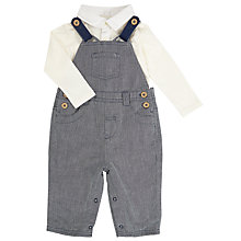 Buy John Lewis Baby's Herringbone Dungaree Set, Navy Online at johnlewis.com