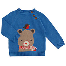 Buy John Lewis Baby's Bear and Robin Jumper, Blue Online at johnlewis.com