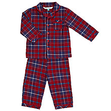 Buy John Lewis Baby's Tartan Pyjamas, Red/Navy Online at johnlewis.com