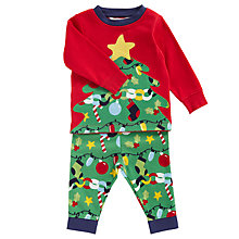 Buy John Lewis Baby's Christmas Tree Pyjamas, Red/Green Online at johnlewis.com