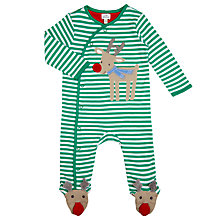 Buy John Lewis Baby's Reindeer Striped Sleepsuit, Green Online at johnlewis.com