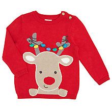 Buy John Lewis Baby's Reindeer Christmas Jumper, Red Online at johnlewis.com