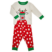 Buy John Lewis Baby's Reindeer Pyjama Set, Cream/Red Online at johnlewis.com