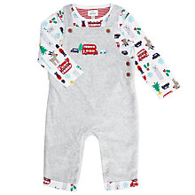 Buy John Lewis Baby London Christmas Dungaree Set, Grey Online at johnlewis.com
