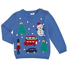 Buy John Lewis Baby London Christmas Print Jumper, Blue Online at johnlewis.com