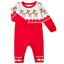 Buy John Lewis Baby's Knitted Reindeer Romper, Red Online at johnlewis.com