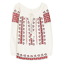 Buy Mango Ethnic Embroidery Blouse, Light Beige Online at johnlewis.com