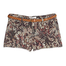 Buy Mango Floral Print Shorts, Khaki Online at johnlewis.com