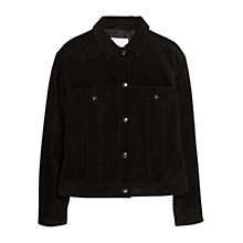 Buy Mango Buttoned Suede Jacket, Black Online at johnlewis.com