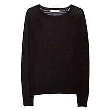 Buy Mango Stripe Pattern Jumper, Black Online at johnlewis.com