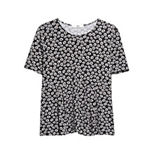 Buy Mango Pleated Floral T-Shirt, Black Online at johnlewis.com
