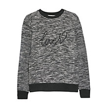 Buy Mango Love Flecked Sweatshirt, Black Online at johnlewis.com