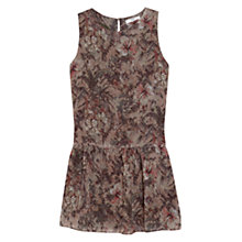 Buy Mango Flared Floral Skirt Dress, Beige / Khaki Online at johnlewis.com