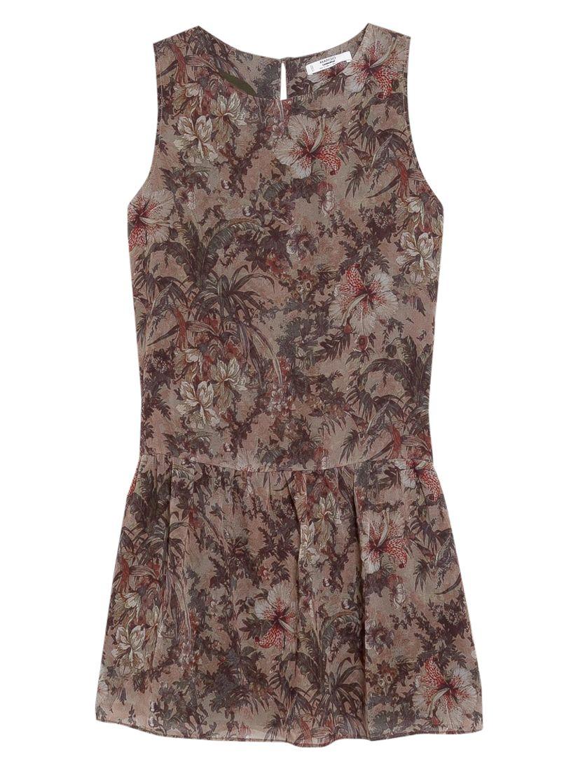 mango flared floral skirt dress beige / khaki, mango, flared, floral, skirt, dress, beige, khaki, 8|12|10|14|6, women, womens dresses, 1933414