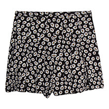 Buy Mango Daisy Print Shorts, Black Online at johnlewis.com