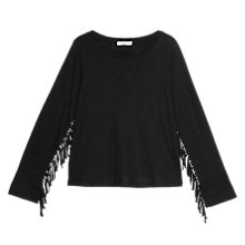 Buy Mango Fringe T-Shirt, Black Online at johnlewis.com