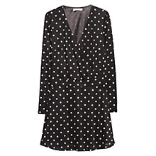 Buy Mango Polka Dot Flared Dress, Black Online at johnlewis.com