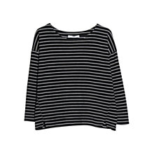 Buy Mango Striped Textured Jumper, Black Online at johnlewis.com