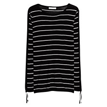 Buy Mango Premium Ribbed Fine Knit Stripe Jumper, Black Online at johnlewis.com