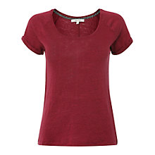 Buy White Stuff Linen T-Shirt, Coral Red Online at johnlewis.com