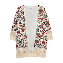 Buy Mango Printed Fringe Jacket, Light Beige Online at johnlewis.com