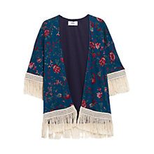 Buy Mango Fringed Floral Kimono Jacket, Bright Blue Online at johnlewis.com