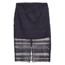Buy Mango Open-Work Pencil Skirt, Dark Blue Online at johnlewis.com