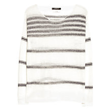 Buy Mango Fine Knit Stripe Linen-Blend Jumper, Natural White Online at johnlewis.com
