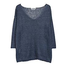 Buy Mango Linen Jumper, Navy Online at johnlewis.com