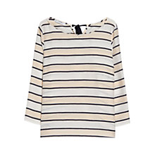 Buy Mango Striped Bow Blouse, Natural White Online at johnlewis.com