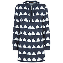 Buy Jaeger Ikat Triangle Linen Tunic Top, Navy Online at johnlewis.com