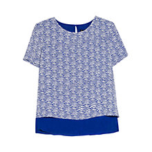 Buy Mango Double Layer Blouse, Blue Online at johnlewis.com