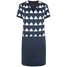 Buy Jaeger Ikat Linen Day Dress, Navy/White Online at johnlewis.com