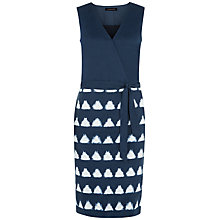 Buy Jaeger Ikat Linen Wrap Dress, Navy/White Online at johnlewis.com