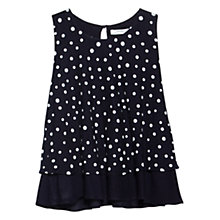 Buy Mango Polka Dot Layer Top, Navy Online at johnlewis.com