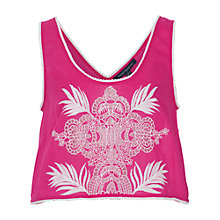 Buy French Connection Harlan Cotton Cropped Vest Top, Passion Pink Online at johnlewis.com