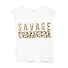 Buy Mango Leopard-Print Message T-Shirt, Natural White Online at johnlewis.com