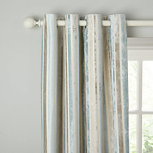Buy John Lewis Velvet Stripe Lined Eyelet Curtains, Duck Egg Online at johnlewis.com
