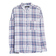 Buy Mango Oversized Check Shirt, Light Pastel Blue Online at johnlewis.com