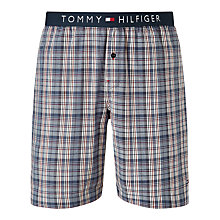 Buy Tommy Hilfiger Flag Check Woven Cotton Lounge Shorts, Blue Online at johnlewis.com