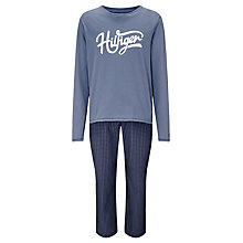 Buy Tommy Hilfiger Gingham Pants and Long Sleeved Shirt Pyjama Set, Blue Online at johnlewis.com
