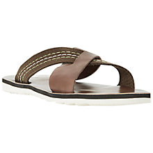 Buy Dune Inky Mixed Material Crossover Slider Sandals, Brown Online at johnlewis.com