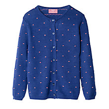 Buy Mango Kids Girls' Embroidered Polka Dot Cardigan, Blue Online at johnlewis.com