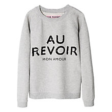 Buy Mango Kids Sequin 'Au Revoir' Sweatshirt, Grey Online at johnlewis.com