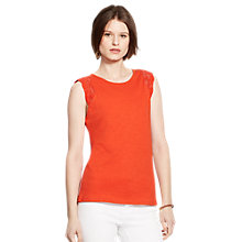 Buy Lauren Ralph Lauren Crocheted-Sleeve Top, Cabana Orange Online at johnlewis.com