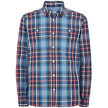 Buy Jaeger Madras Check Long Sleeve Shirt, Blue Online at johnlewis.com