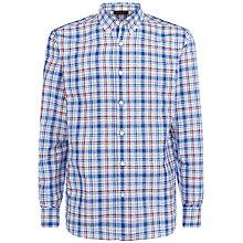 Buy Jaeger Linen Check Regular Shirt, Blue/Multi Online at johnlewis.com