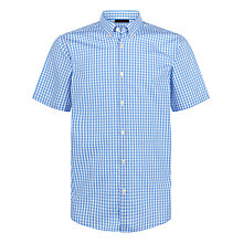 Buy Jaeger Gingham Regular Fit Short Sleeve Shirt, Mid Blue Online at johnlewis.com